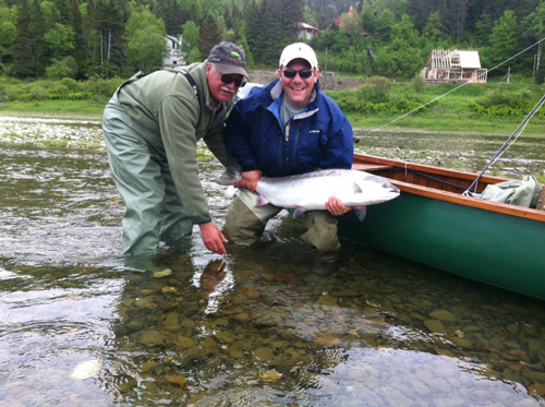June 13, 2011, Scott Kaliko and guide Gerry in Scowshed pool with a bright 32lber