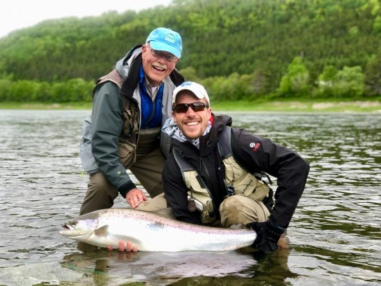 RRL guest David Wood III, a proud dad and a fine Restigouche salmon