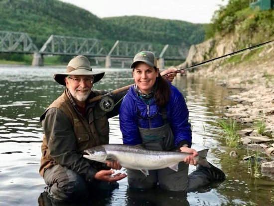 Guide Raymond and Diane with a beautiful Atlantic Salmon