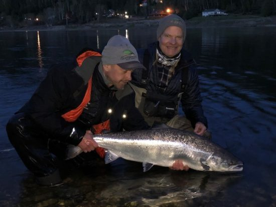 Toby and Bruce with a chrome Atlantic salmon